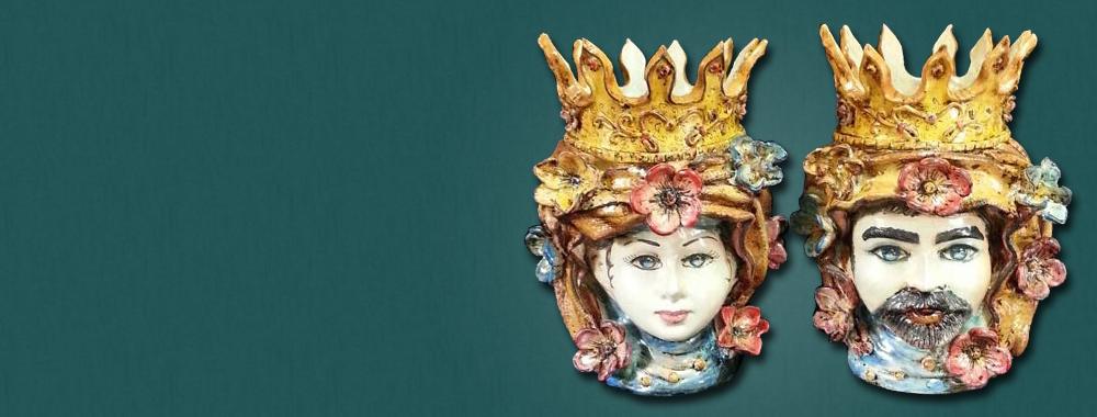 Teste di Moro<br>in ceramica di Caltagirone